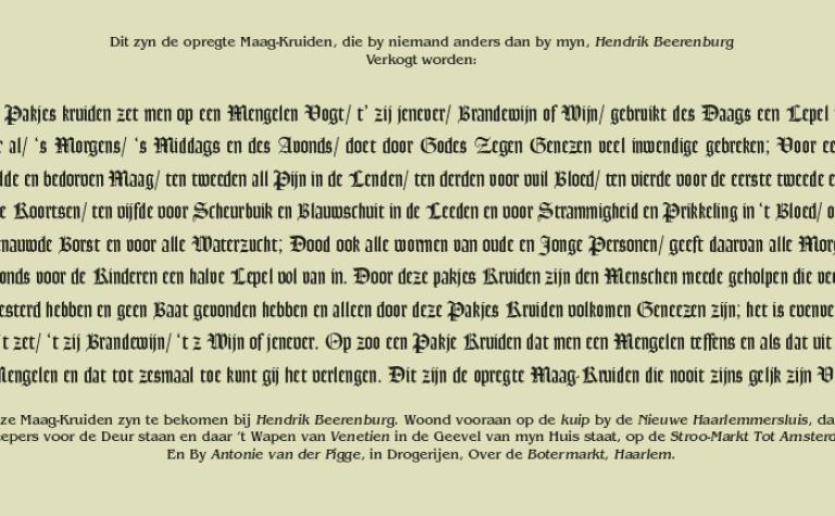 """""""'Opregte"""" maagkruiden van Hendrik Beerenburg"""